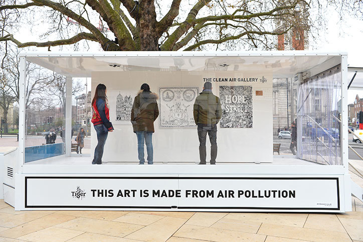 Illustration using recycled pollution Air-Ink goes up in London